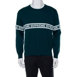 Supreme Dark Green Intarsia Knit Logo Detail Crewneck Jumper S