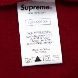 Supreme Burgundy Cotton Crest Label Pocket Crewneck T-Shirt XL