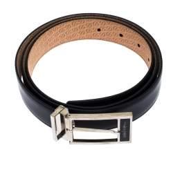 S.T. Dupont Black Leather Silver Line D Heritage Belt 110CM