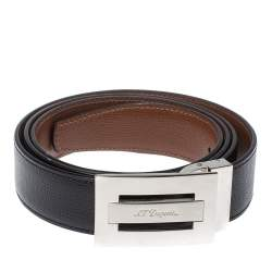 S.T. Dupont Black/Brown Leather Reversible Belt 105CM