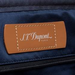 S.T. Dupont Tan Brown Perforated Leather Small Laptop and Document Holder Bag