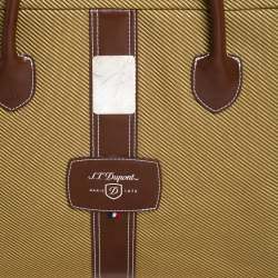 S.T. Dupont Brown/Yellow Canvas and Leather Document Holder Bag