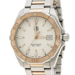 Tag Heuer White Rose Gold Tone Stainless Steel Aquaracer WAY1150.BD0911 Men's Wristwatch 40 mm
