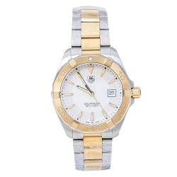 TAG Heuer Silver Opaline Two-Tone Stainless Steel Aquaracer WAY1120.BB0930 Men's Wristwatch 40.50 mm