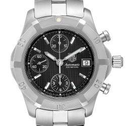 Tag Heuer Black Stainless Steel Chronograph CN2111 Men's Wristwatch 39 MM