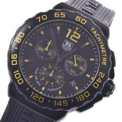 Tag Heuer Black Stainless Steel Formula 1 Chrono CAU111E Men's Wristwatch 42 MM