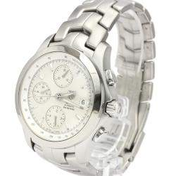 Tag Heuer Silver Stainless Steel Link Chronograph Automatic CJF2111 Men's Wristwatch 42 MM