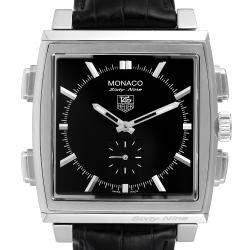 Tag Heuer Black Stainless Steel Monaco Sixty-Nine Manual Quartz CW9110 Men's Wristwatch 40 MM