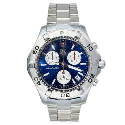 Tag Heuer Blue Stainless Steel Aquaracer CAF1112 Men's Wristwatch 41 mm