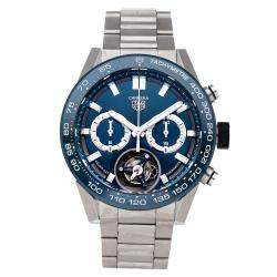 Tag Heuer Blue Stainless Steel Carrera Tourbillon Chronograph Limited Edition CAR5A8C.BF0707 Men's Wristwatch 45 MM