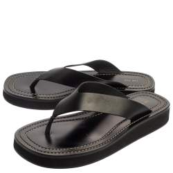 The Row Black Leather Ginza Thong Sandals Size 38