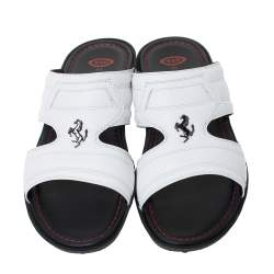 Tod's for Ferrari Limited Edition White Leather Platform Slide Sandals Size 39.5