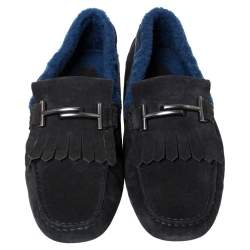 Tod's Black Suede Leather And Shearling Double T Fringe Slip On Loafers Size 42