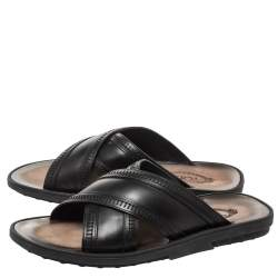 Tod's Black Leather Cross Strap Flat Sandals Size 41.5