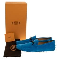 Tod's Blue Suede Leather Double T Slip On Loafers Size 45.5