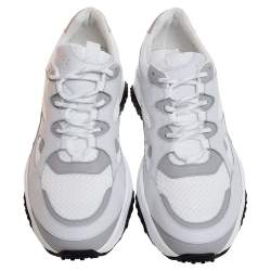 Tod's White Leather and Mesh Active Sporty Sneakers Size 41.5