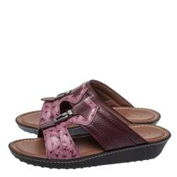 Tod's Two Tone Ostrich Embossed and Leather Sandals Size 39.5