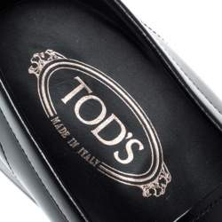 Tod's Black Leather Penny Loafers Size 40