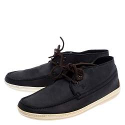 Tod's Navy Blue Nubuck Leather Lace High Top Sneakers Size 41.5