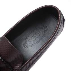 Tod's Brown Perforated Leather Gommino Loafer Size 42