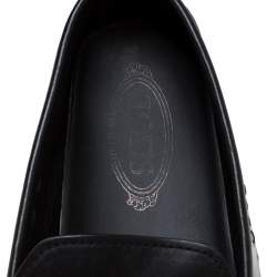 Tod's Black Leather Gommino Loafers Size 45.5
