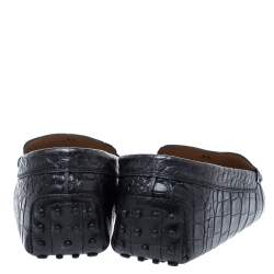 Tod's Black Croc Embossed Leather Double T Loafer Size 42.5