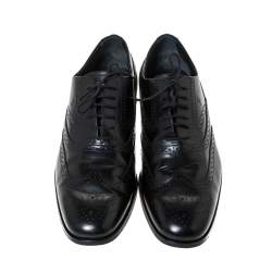 Tod's Black Brogue Leather Lace Up Oxfords Size 42.5