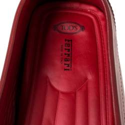 Tod's For Ferrari Red Leather Slip On Loafers Size 47