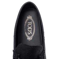 Tod's Navy Blue Leather Double T Slip On Loafers Size 40