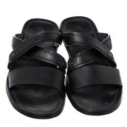 Tod's Black Leather Slide Sandals Size 47
