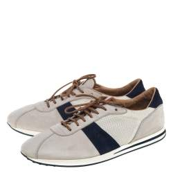 Tod's Beige/Blue Mesh And Nubuck Low Top Sneakers Size 45.5