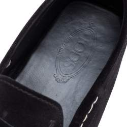Tods Black Suede Gommino Penny Slip On Loafers Size 46.5