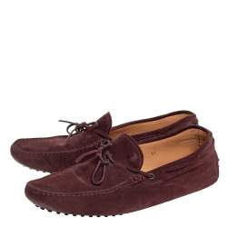 Tod's Burgundy Suede Bow Gommino Loafers Size 45.5