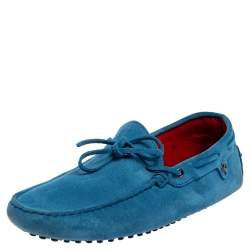 Tod's Blue Suede Slip On Loafers Size 41.5