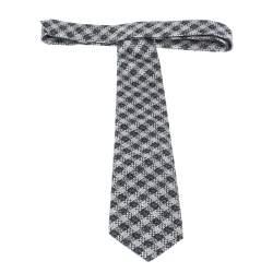 Tom Ford Dark Blue & White Textured Check Silk Tie
