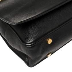 Tom Ford Black Grained Leather Buckley Flap Messenger Bag