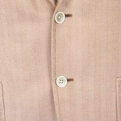 Tom Ford Orange Herringbone Pattern Silk Blazer L