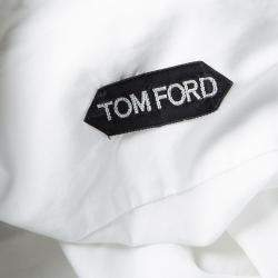 Tom Ford White Cotton Pintuck Detail Long Sleeve Button Front Tuxedo Shirt XL