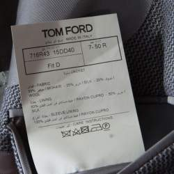 Tom Ford Grey Patterned Jacquard Mohair Blend Tailored Blazer L