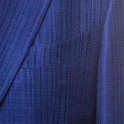 جاكيت بليزر توم فورد حرير وكتان مزخرف أزرق زاهي L