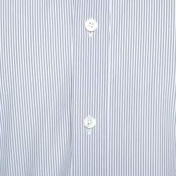 Tom Ford White & Grey Striped Cotton Button Front Shirt XXL