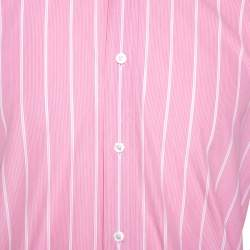 Tom Ford Pink & White Striped Cotton Button Front Shirt L