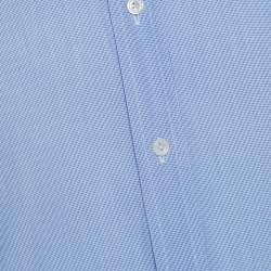 Tom Ford Blue Textured Cotton Double Cuff Long Sleeve Shirt XL