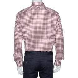 Tom Ford Light Brown Gingham Check Cotton Long Sleeve Shirt XXL