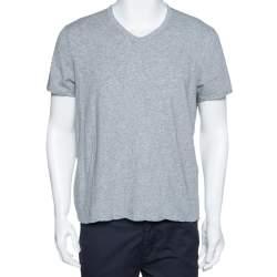 Tom Ford Grey Marl Jersey Cotton V Neck T-Shirt L