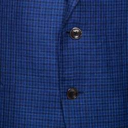 Tom Ford Blue Checked Wool & Silk Blend Tailored Jacket XL