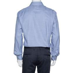 Tom Ford Blue Check Patterned Cotton Long Sleeve Shirt XXL