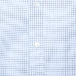 Tom Ford White & Blue Checkered Cotton Su Misura Long Sleeve Shirt XXL