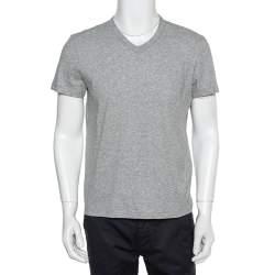 Tom Ford Grey Cotton V -neck T-Shirt M