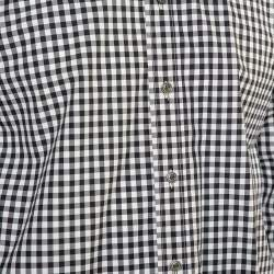 Tom Ford Monochrome Checkered Cotton Button Front Shirt L